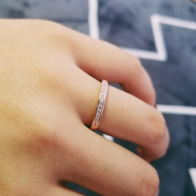 Solid Real 925 Sterling Silver Ring Eternity Set For Women Pure Wedding Engagement Rose Gold