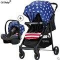 CH carrinho de bebê carrinho de bebê 4 em 1 vezes com placa de plástico PP e berço do bebê carrinho de bebê de carro do bebê assento de segurança para crianças