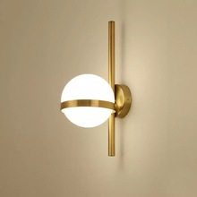 White Glass ball Led Wall Lamp Gold/Black Body Living room Bedroom Deco Bathroom  Stairs Lights Nordic Wandlamp