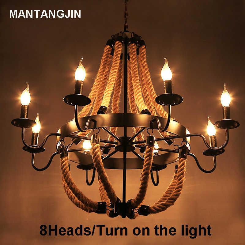 Винтаж веревки Открытый Подвесные Светильники светильник Лофт творческая личность промышленного Эдисон лампы Американский Стиль для Гостиная украшения