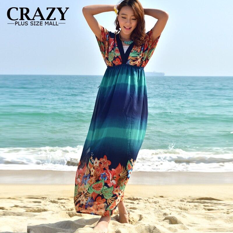 Summer Bohemian Style Dresses 6xl 2017 Plus Size 4xl Xxxl Sexy V