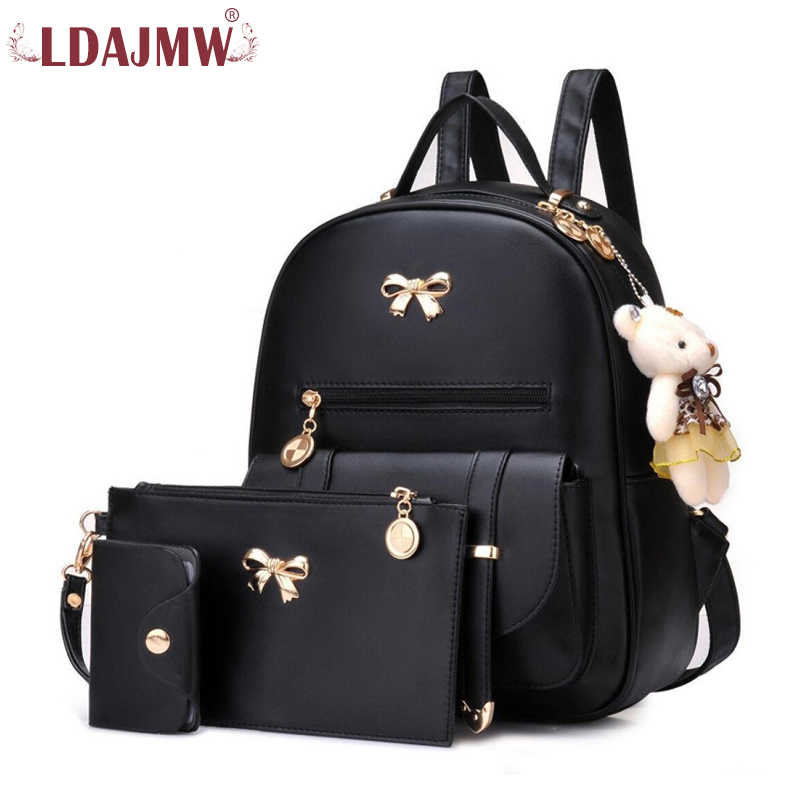 LDAJMW New Arrival 3pcs/Set Women Backpack PU Leather Teenager School Girls Bags Female Shoulder Bag Purse