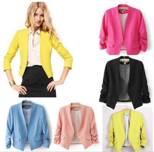 Blazer mujeres Candy color blazer femenino chaqueta mujer