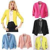 Blazer Women Candy Color Female Blazer Women Jacket 3 4 Sleeve Pockets None Button Woman Slim