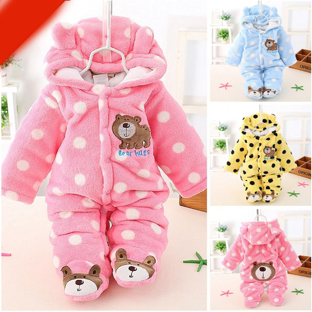 571ab21ba New Baby Winter Romper Cotton Padded Thick Newborn Baby Girl Warm ...