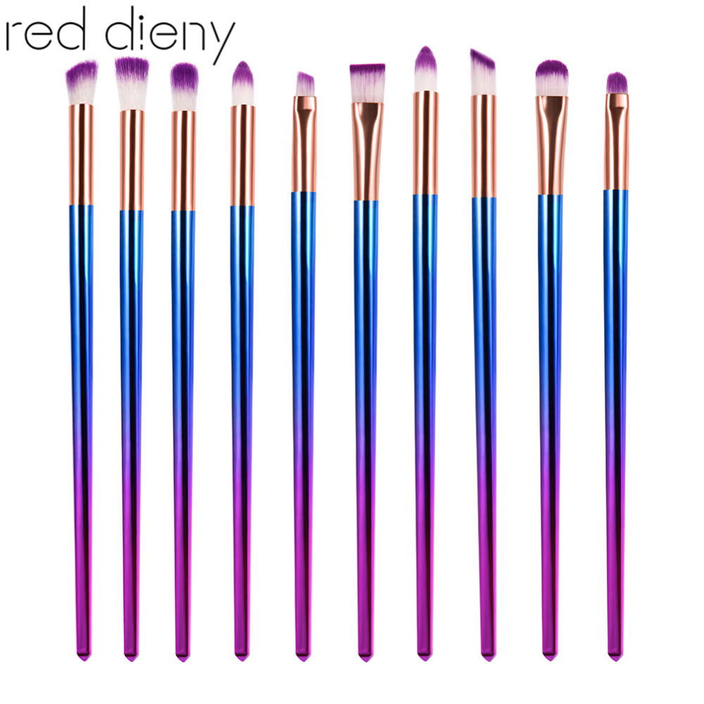 Dreamlike Corlor Rhombic Dazzling  Handle And Purple Hair 10PCS Eyebrush Set Kit Use for Eyeshadow Eyeliner Eyebrow kitrcp268888gyuns03008 value kit rubbermaid slim jim handle top rcp268888gy and unisan plunger for drains or toilets uns03008