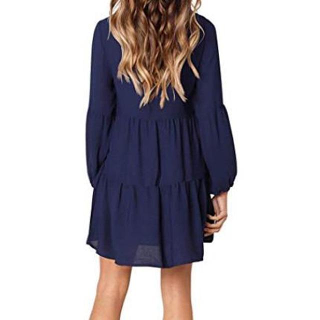 New fashion Women Solid Lantern Long Sleeve party dress V-Neck Draped Knee-Length Dress 2