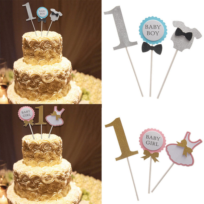 Superb 3Pcs Set Cake Topper Flag Baby Boy Girl 1 Year Old Age Happy Personalised Birthday Cards Petedlily Jamesorg