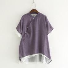 Женские короткие рубашки в китайском стиле, повседневные блузки со стоячим воротником, новые летние свободные винтажные топы, короткая Асимметричная рубашка