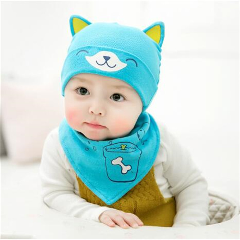 Newborn Hats bibs set toddler Boy Girls Cap bibs suit Infant cute fox style Beanie 2 pcs / set
