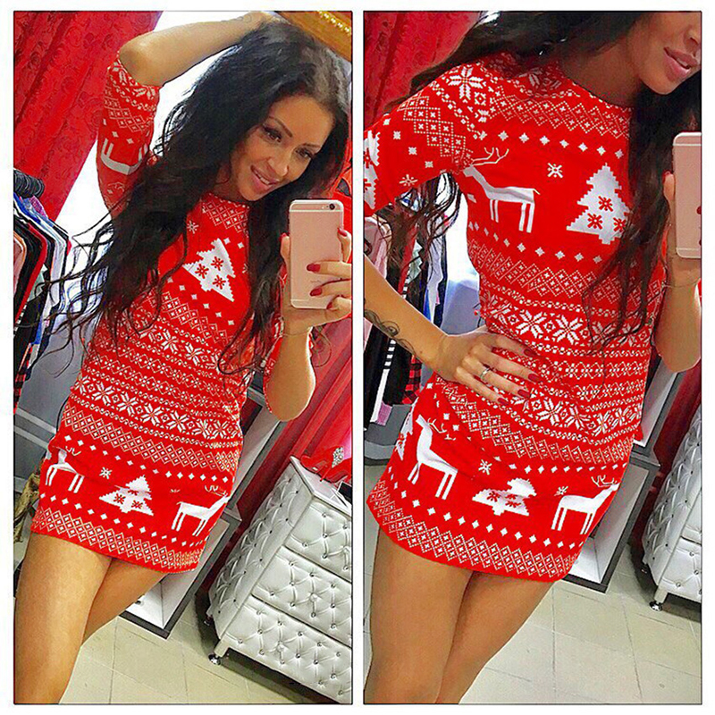 Women Mini Short Slim Fitness Dress New Casual Winter Warm Round Neck Deer Pattern Christmas Party Sheath Dress