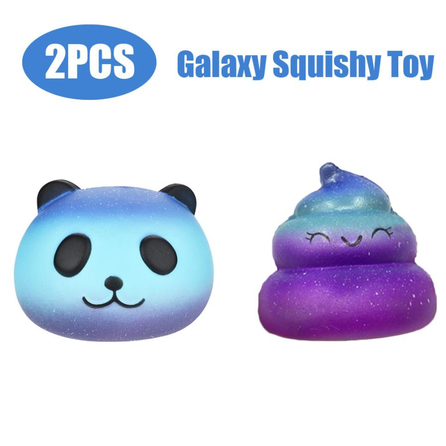 2PCS Squishy Toy Funny Galaxy Panda & Poo Scented Slow Rising Squeeze Toy Kid Toys For Children Gift Antistress Novel Toy