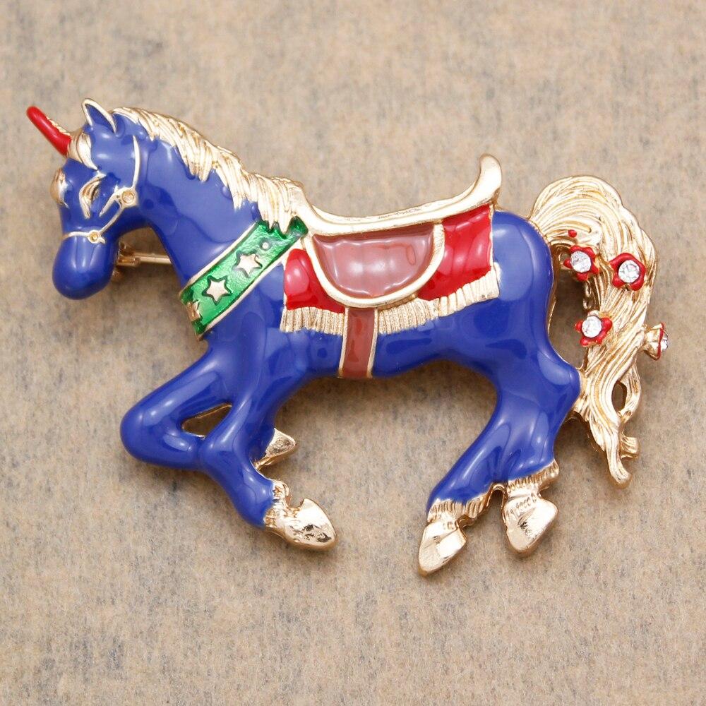 Art Nouveau Gold & Blue Mystical Unicorn Horse Narnia Big Lapel Collar Brooch Pin Badge Jewelry Women Fashion