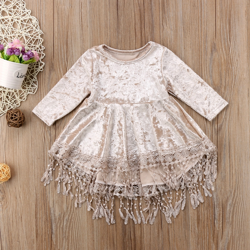 Kids Toddler Baby Girl Long Sleeve Tassels Casual Party Pageant Princess Dresses