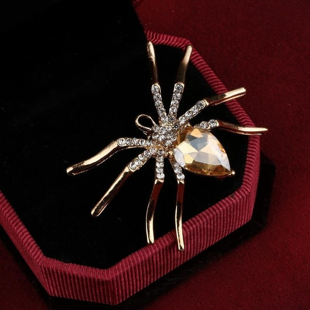 242197f3f391 ZOSHI lindo gran araña broches Pin de la joyería para las mujeres traje  sombreros Clips ramilletes