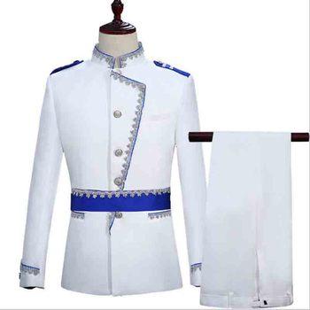 Men Suit Prom Tuxedo White Groom Wedding Suit For Men European Court Military Dress Blazer Deluxe Vintage Suit Costume For Men