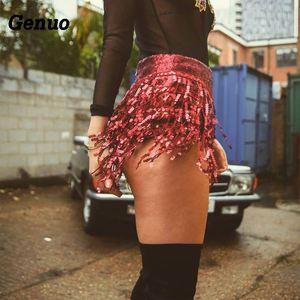 Image 2 - Женская юбка с блестками и кисточками, летние блестящие сексуальные Клубные шорты с высокой талией, облегающие вечерние шорты, Одежда для танцев, 2020