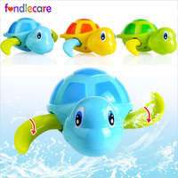 Fondlecare 3 Colors Kids Reborn baby swim bath toy turtle clockwork toy for children rubber toy for bathroom brinquedos