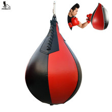 RUNACC PU Shape PU Boxing Pear Swivel Punch Bag Punching Exercise Speedball Speed bag Punch Fitness Training Ball Black and Red(China)