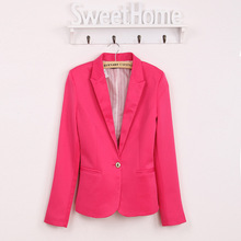 Spring Women Blazer high quality Jacket Made Of Cotton Basic Jackets Candy Color Long Sleeve Slim Suit Female Small