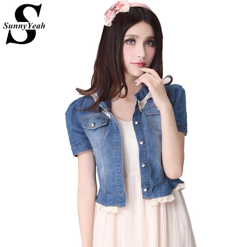 SunnyYeah New Arrival Denim   Jacket   Women 2018 Fashion Spring Summer Lace Casual   Basic     Jacket   Women Plus Size Jeans   Jackets   Coats