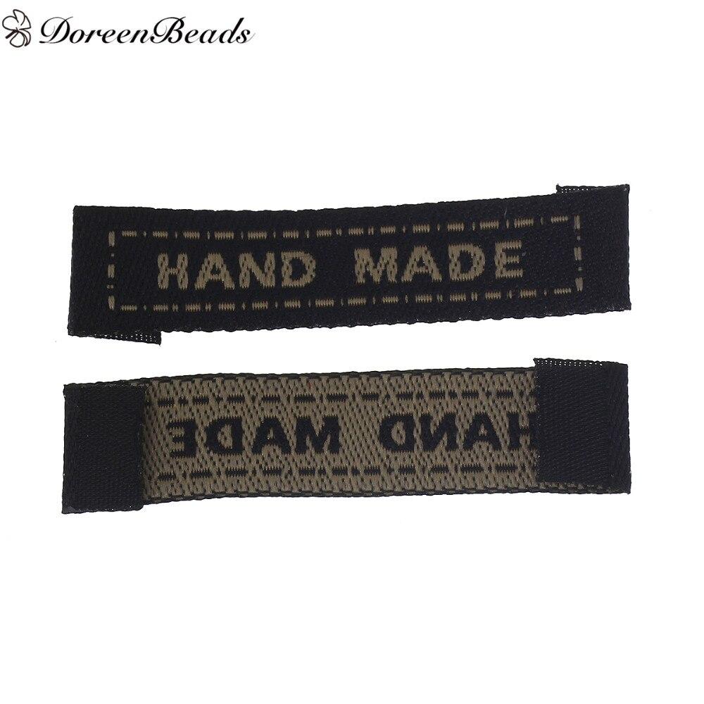 DoreenBeads Terylene Woven Printed Labels Tags DIY Scrapbooking Craft Rectangle Hand Made 45.0mm x 10.0mm, 100 PCs