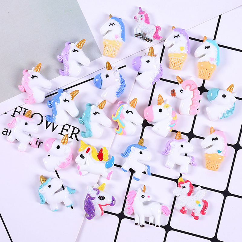 100 PCS Cake Cream Animal Unicorn And Mermaid Tail Resin Accessories Slime Flower Mixed Fruit Beads For DIY Crafts Scrapbooking