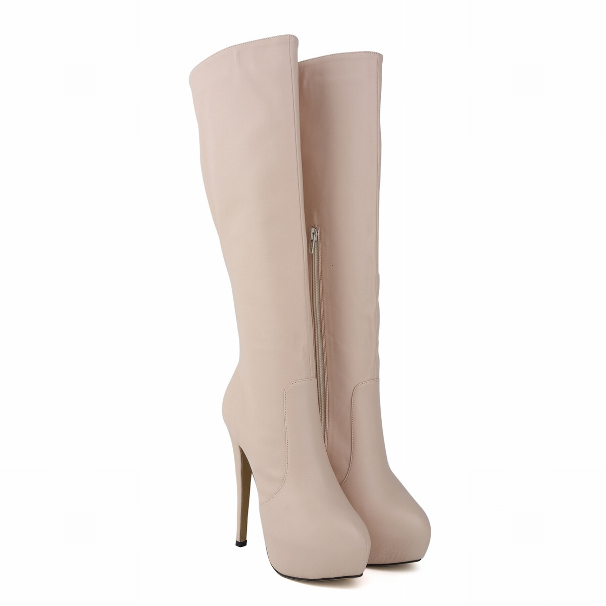 Charming Womens Genuine Leather Pointed Toe High Heels Autumn Winter Mid Calf Knee Wide Leg Stretch Boots US Size 35-42