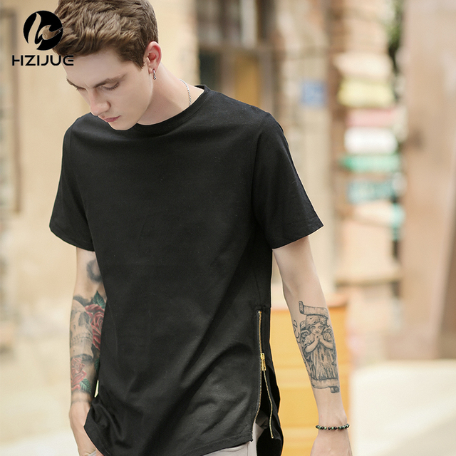 ba5a98cb42ba HZIJUE 2018 Cerniera Laterale Avanzata Uomo Mens Hip Hop Hiphop Swag lungo  Stile Casual T Shirt