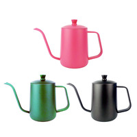 1Pc Stainless Steel Milk Frothing Jug Long Mouth Coffee Pot Coffee Tea Pot Teflon Coating Kitchen