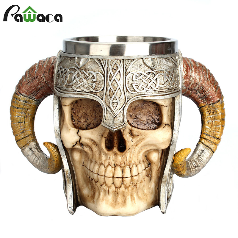 Stainless Steel Skull Mug Viking Ram Horned Pit Lord Warrior Beer Stein Tankard Coffee Mug Tea Cup Halloween Bar Drinkware Gift(China)