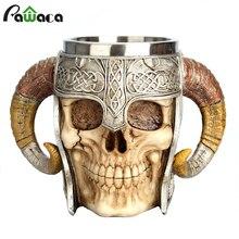 Caneca viking de crânio de aço inoxidável, cabine de cavalo lord guerreiro, cerveja, stein tankard, caneca de café, chá, halloween, bar, talheres de bebidas presente