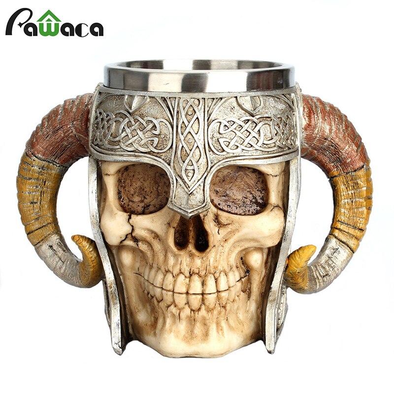 Cráneo de acero inoxidable taza de Viking Ram cuernos señor del foso Guerrero cerveza Stein Tankard de la taza de café taza de té de Halloween Bar Vasos regalo