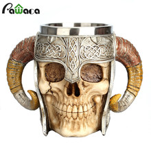 Taza de acero inoxidable de calavera vikingo Ram Horned Pit Lord Warrior cerveza Steer Tankard taza de té taza de Bar de Halloween regalo(China)