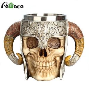 Image 1 - Stainless Steel Skull Mug Viking Ram Horned Pit Lord Warrior Beer Stein Tankard Coffee Mug Tea Cup Halloween Bar Drinkware Gift