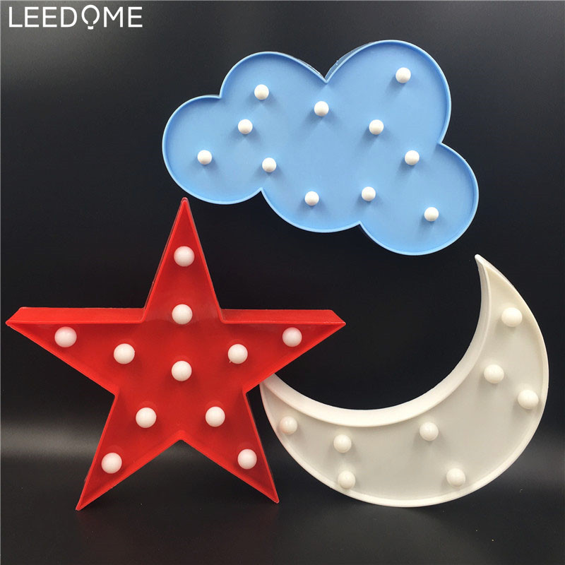 Leedome LED Marquee Night Light Moon Cloud Star 3D AA Battery Lamp Novelty Luminaria Baby Kids Bedroom Decoration Home Lighting