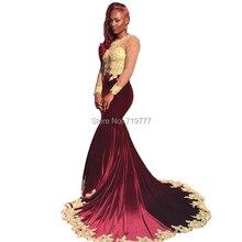 Maroon Samt Abendkleid Meerjungfrau Lange Afrikanische Prom Kleider 2017 Mit Gold Applique Formale Kleid Vestido De Festa
