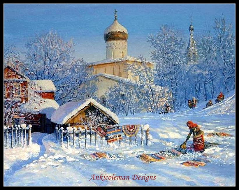 Needlework for embroidery DIY DMC Color High Quality Counted Cross Stitch Kits 14 ct Oil painting Clean Rugs in winter
