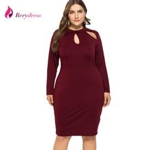 Berydress Elegant Plus Size Women Dress Turtleneck Long Sleeve Sheath  Bodycon Vestidos Hollow out Autumn Midi ddca0a1d1621