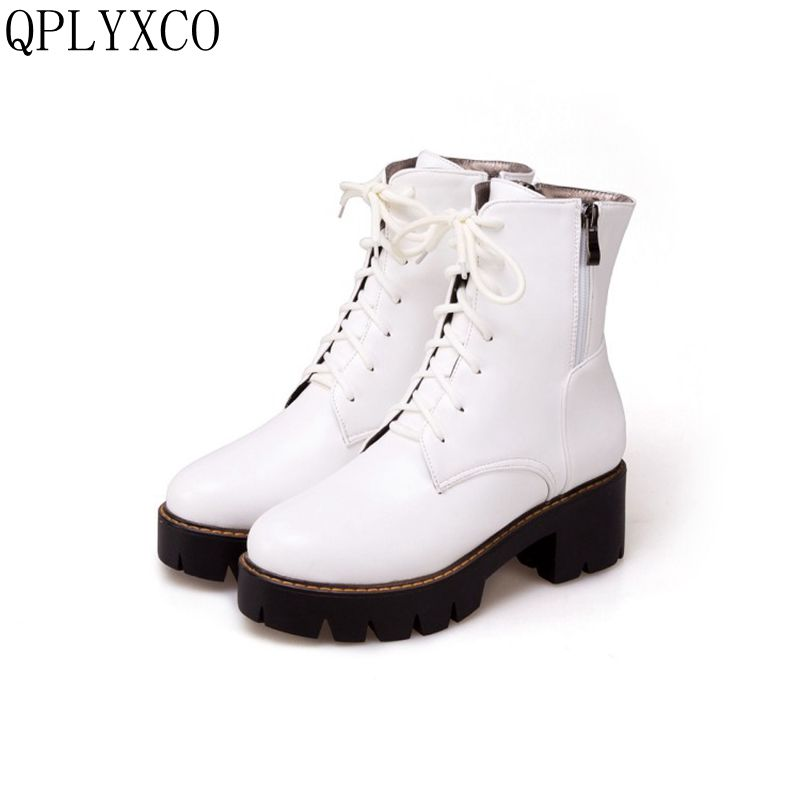 QPLYXCO 2017 New Big size 34-43 fashion ankle boot short Sexy Women's Round Toe high heels wedding Party casual shoes 3331 qplyxco 2017 new big small size 31 46 ankle short boot winter sexy women round toe high heels 14cm wedding party shoes 559
