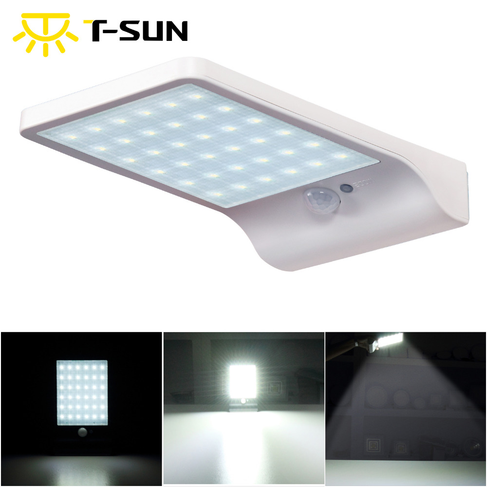ᗐT-amanecer sensor de movimiento solar 36 LED Spotlight solar luces ...