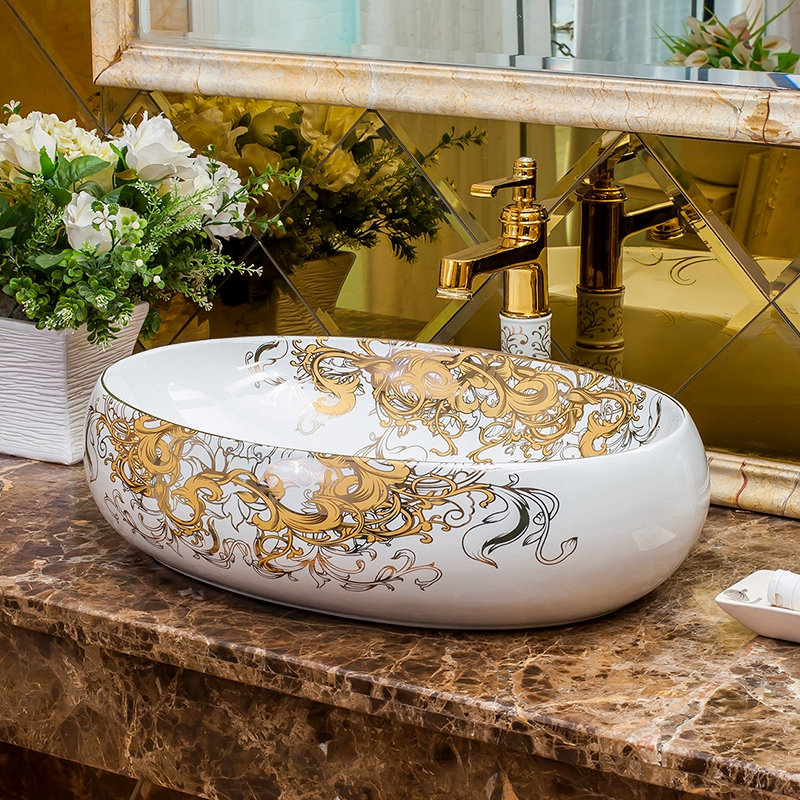 Europe Vintage Style Hand Painting Art wash basin bathroom sinks Countertop hand wash basins bathroom sinks oval