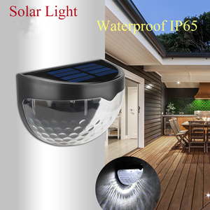 6 LED Outdoor Solar Wall Light Waterproof Semicircular Fence Garden Stairs Corridor Emergency Sconce Lamp