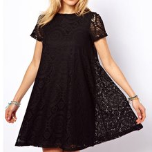 Fashion Female Summer Style A-Line Short Sleeves Summer Dress Women Hollow Out Lace Sexy Dress