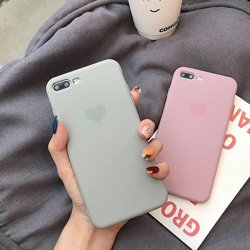Del Color del caramelo de la caja del teléfono para Huawei P20 P30 P10 Mate 10 20 Pro Nova 3 2s Honor 10 9 cubierta trasera de silicona sólida suave Impresión de corazón de TPU