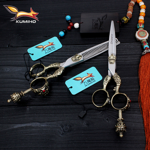 Image 2 - KUMIHO Japanese hair scissors kit 1 cutting scissors and 1 thinning scissors with leather case hair shear with crown handle
