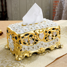 European Ceramic Luxury Tissue Boxes Creative Household Sitting Room Table Decoration Electroplating Smoke Box