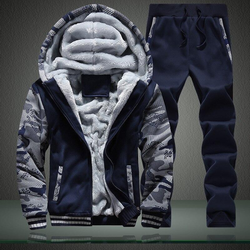 Winter Hoodie Male Camouflage Sweatshirt Men Casual Tracksuit Hooded Mens Coat Zipper Thick Velvet Man Mens Hoodies