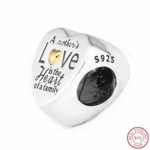 Image 3 - Kalp aile boncuk kadınlar takı yapımı için DIY Fit PANDORA Charms gümüş 925 & 14K altin değil kaplama anne hediye FL596K