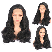 New Ladies Wavy Black Stunning Natural Long Lace Front Front Wig Hair For Women 0804(China)
